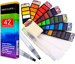 MISULOVE Watercolor Paint Set – 42 Colors with 3 Watercolor Brushes Pens, Foldable Professional Travel Pocket Watercolor Kit for Field Sketch Set Outdoor Painting