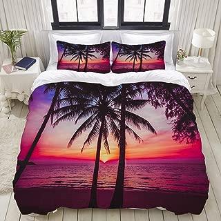 LONSANT Palm Trees Silhouette on Sun Set Tropical Beach Coastline Exotic Vacations College Dorm Room Decor Decorative Custom Design 3 PC Duvet Cover Set Twin/Twin Extra Long