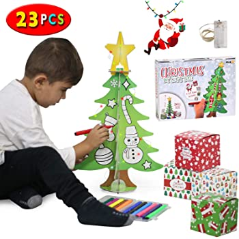 PICKME DIY Craft Christmas Tree Kit for Kids | Mini 3D Coloring Xmas Tree with 12 Washable Markers, 4 Gift Boxes, 2m LED Lights Strip | Decorations & Ornaments for Home & Classroom (6Pcs 1.6ft)