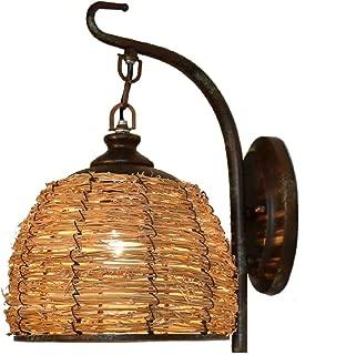 FLHAINVER Iron Kerosene Vintage Bedside Wall lamp - Mediterranean Restaurant Cafe inn - Antique Lantern Home Mirror Headlights