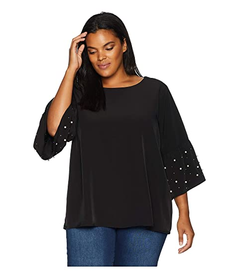 CALVIN KLEIN PLUS Plus Size Bell Sleeve Blouse With Pearls, Black