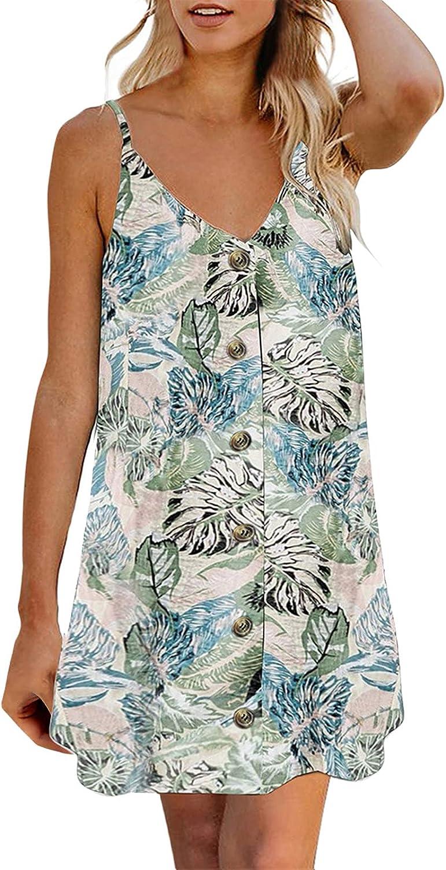 XIEXIEBUY Summer Dresses for Women Sunflower Print Strap Down Bu