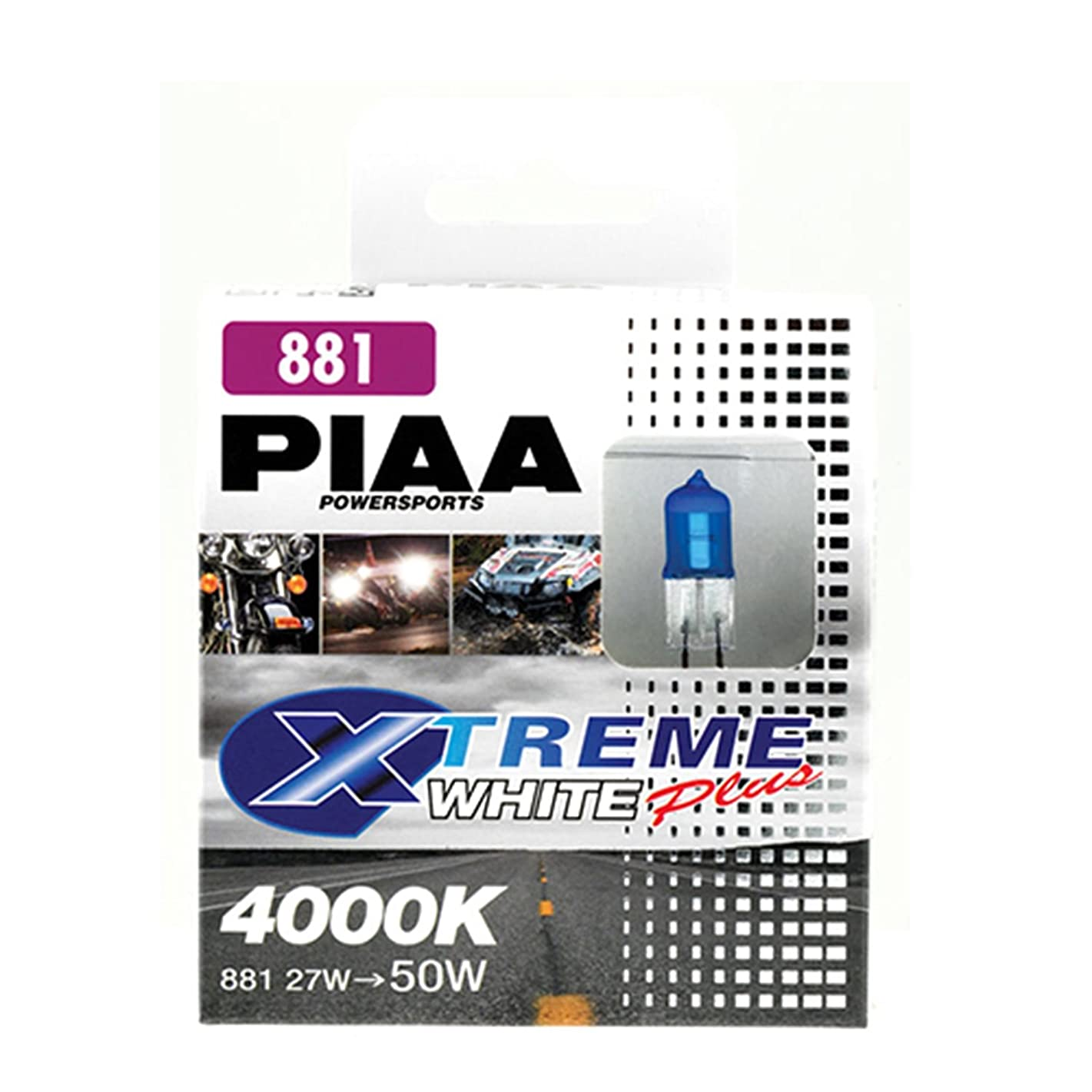 PIAA 70822 881 Xtreme White PLUS 27W=50W Xtra Halogen Bulb, (Twin Pack)
