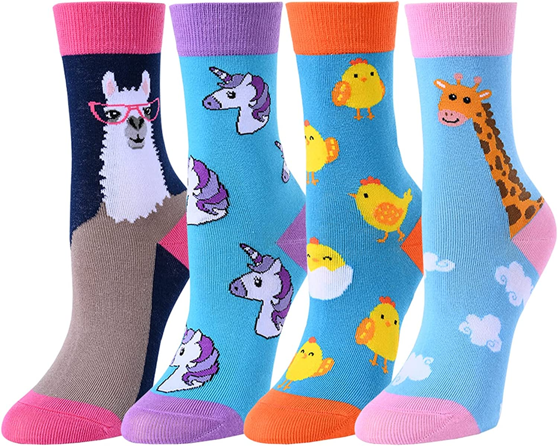 SOCKFUN Girls Socks Funny Novelty Cute Girls Gifts Unicorn Socks for Kids 5-10 Years