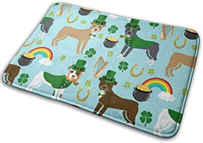 "Pitbull Leprechaun - St Pattys Day St. Patricks Day Dog Design -Blue_27936 Doormat Entrance Mat Floor Mat Rug Indoor/Outdoor/Front Door/Bathroom Mats Rubber Non Slip 23.6"" X 15.8"""