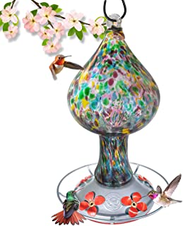 Grateful Gnome - Hummingbird Feeder - Hand Blown Glass - Tall Speckled Mushroom