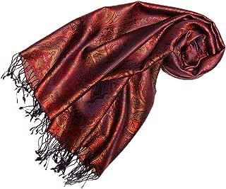 Lorenzo Cana Luxus Pashmina Schal Schaltuch jacquard gewebt 100% Seide 70 x 190 cm Paisley Muster Seidenschal Seidentuch Seidenpashmina harmonische Farben
