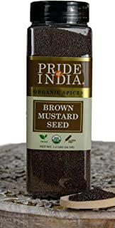 Pride Of India- Organic Brown Mustard Seed Whole- 24 oz (680 gm) Large Dual Sifter Jar - Authentic Indian Vegan Spice- Bes...