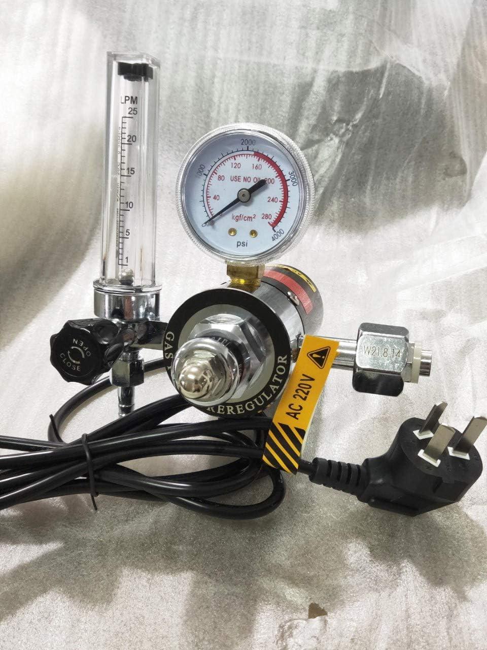 Heated CO2 Pressure Reducer CGA540 Pressure Gauge Inlet G5//8-14 Outlet M12 AC36V Hanchen Gas CO2 Regulator