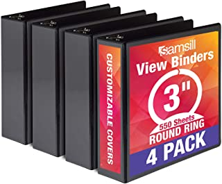 Samsill Economy 3 Ring Binder Organizer, 3 Inch Round Ring Binder, Customizable Clear..