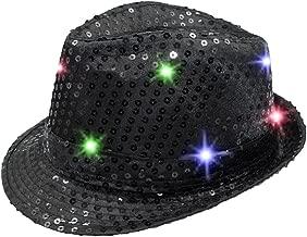 Namsan Fedora-Partyhut mit 9 blinkenden und farbenfrohen LEDs, mit Pailletten besetzt