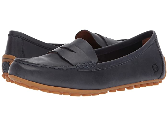 Born  Malena (Navy (Peacoat Blue) Full Grain Leather) Womens Flat Shoes
