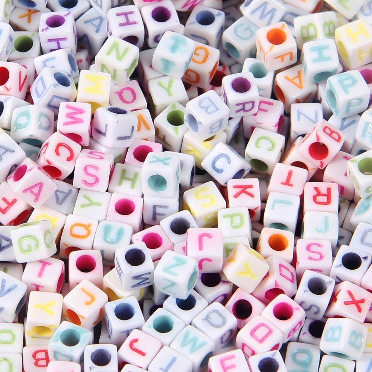 Kbraveo 1500Pcs 6x6mm Alphabet Letter A-Z Cube Beads,Acrylic Alphabet Cube Beads for Jewelry Making,Bracelets,Necklace Making