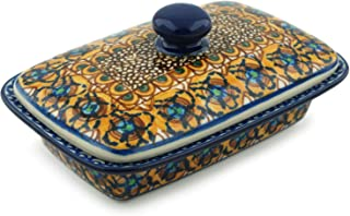 Polish Pottery 6½-inch Butter Dish made by Ceramika Artystyczna (Brown Mardi Gras Theme) Signature UNIKAT + Certificate of Authenticity
