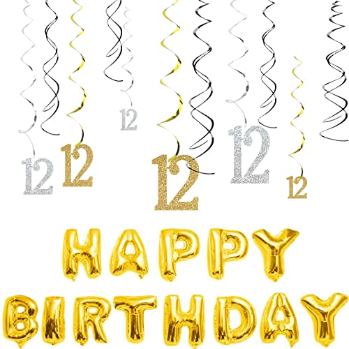 MAGJUCHE 12th Birthday Decorations Kit Gold Silver Glitter Happy 12 Years Old Banner