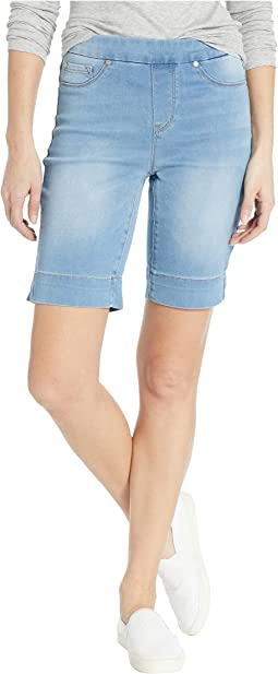Soft Touch Denim Pull-On Bermuda w/ Side Slit in Real Blue