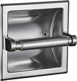 Best JunSun Polished Chrome Recessed Toilet Paper Holder Wall Toilet Paper Holder Recessed Toilet Tissue Holder Toilet Paper Bracket Stainless Steel Toilet Paper Holder - Rear Mounting Bracket Included Review