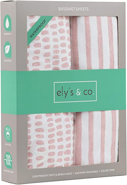 Ely S Co Waterproof Bassinet Sheet No Need For Bassinet Mattress Pad Cover 2 Pack Mauve Pink Splash Stripes For Baby Girl