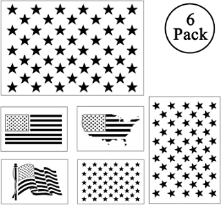 Plastic Stencil Template - American Flag 50 Star Map Flag for DIY Drawing Painting Craft Art Projects Reusable Painting on Wood Wall Journal Paper Fabric Planner Notebook Diary Scrapbook Graffiti