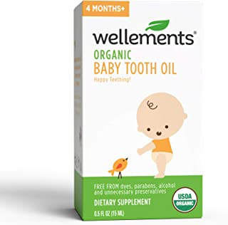 Wellements Organic Baby Tooth Oil for Teething, 0.5 Fl Oz, Free from Dyes, Parabens, Preservatives