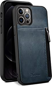 Card Leather Cover for Apple iPhone 12 Pro Max 2020 5G 6.7 Zipper Protective Durable Blue Shockproof Fashion Soft Case Unisex