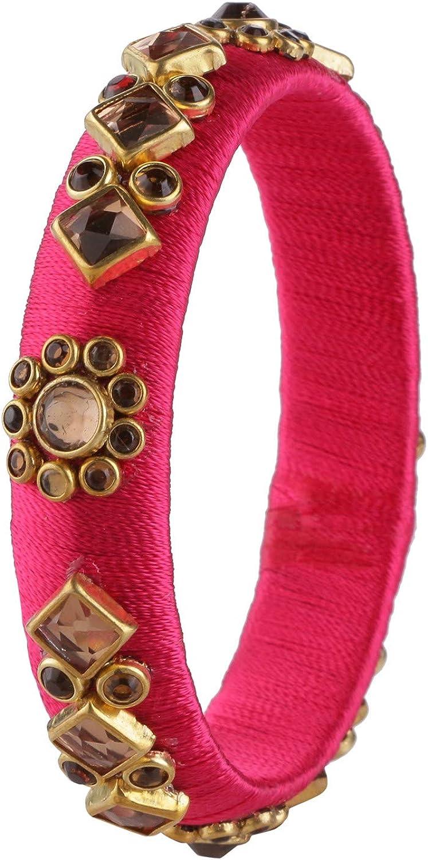 Efulgenz Fashion Jewelry Indian Bollywood Gold Plated Crystal Beaded Multicolor Silk Thread Tassel Bracelet Bangle Set