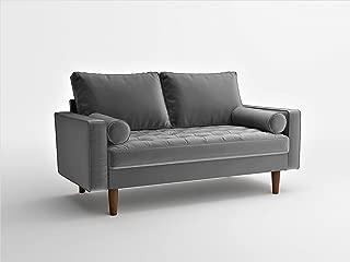 Container Furniture Direct S5457 Mid Century Modern Velvet Upholstered Tufted Living Room Loveseat, 50.39