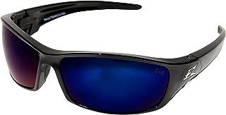 Edge Eyewear TSRAP218 Reclus Safety Glasses, Black with Polarized Aqua Precision Blue Mirror Lens