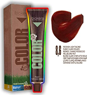 Natural Organic Hair Color Dye PERMANENT by Salerm Biokera (25 mins) (8,6: Reddish Light Blond)