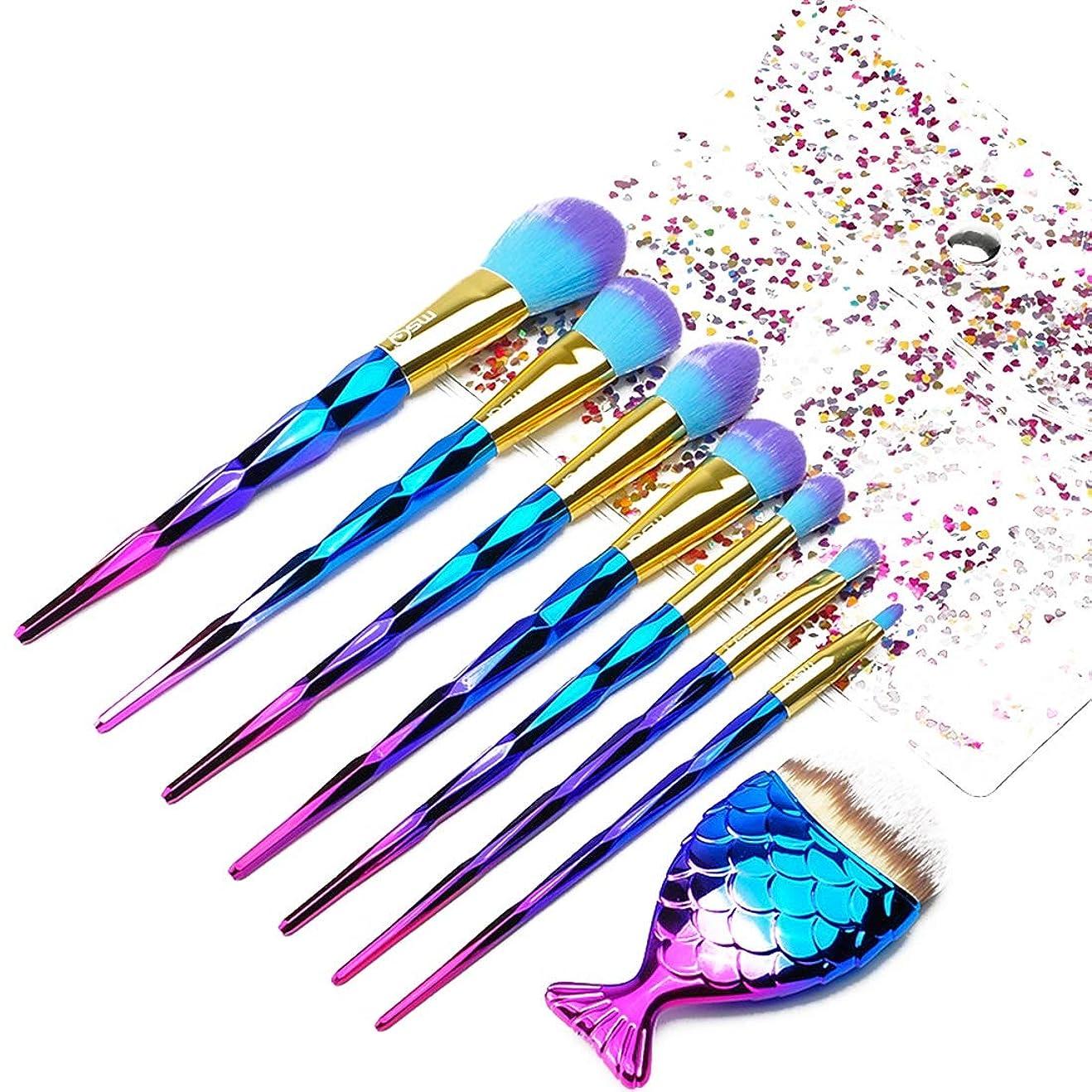 上向き悪い野な辽阳世纪电子产品贸易中心 FUYZBメイクブラシ、Angelabasics 7PCS /セットメイクアップブラシファンデーションアイシャドーブラッシャーパウダーブレンド化粧ブラシメイクブラシセット (色 : Gradient)
