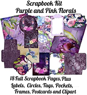 Scrapbook Kit: Purple and Pink Florals, 18 Full Scrapbook Pages Plus: Labels, Circles, Tags, Pockets, Frames, Postcards, C...