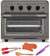 Cuisinart TOA-60BKS Air Fryer Toaster Oven, Black Stainless Includes Knife, Spatula, Tongs and Mitt Bundle