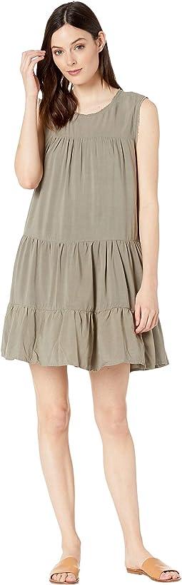 Vintage Washed Sleeveless Ruffle Dress