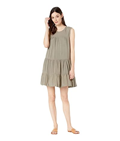 Dylan by True Grit Vintage Washed Sleeveless Ruffle Dress (Olive Tree) Women