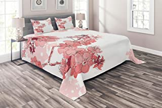 Almond Blossom 4 Piece Bedding Duvet Cover Set King Size, Sakura Flower in Bloom with Watercolors Spring Nature Elements Chinese, 4pcs Comforter Cover Bedspread and 2 Pillow Shams, Coral and Black