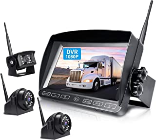 ZEROXCLUB Digital Wireless Backup Camera System Kit,HD 1080P & IP69 Waterproof Wireless Reverse Rear Side View Camera + 7'' DVR Split Monitor with Touch Button for RV/Truck/Trailer/Bus/Pickup/Van-B3C