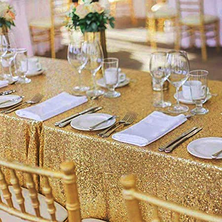 48x72 inch Gold Rectangular Sequined Tablecloth can be Used for Parties, Weddings, banquets and Other Activities