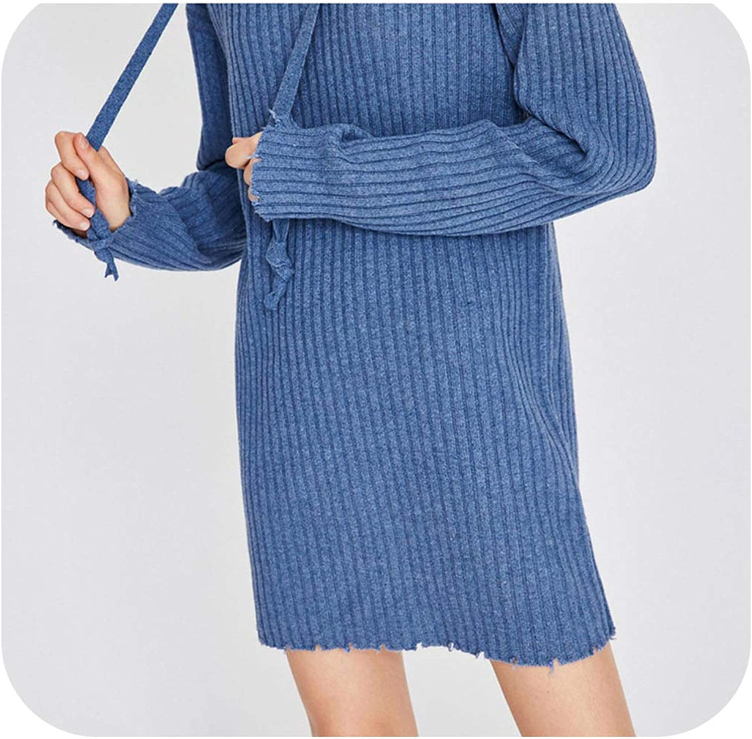 Striped Knitted Dress Solid Hooded Straight Kawaii women