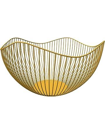 Kaibrite 3 cestini per frutta in metallo a forma di foglia di loto supporto per torte e frutta da appendere oro