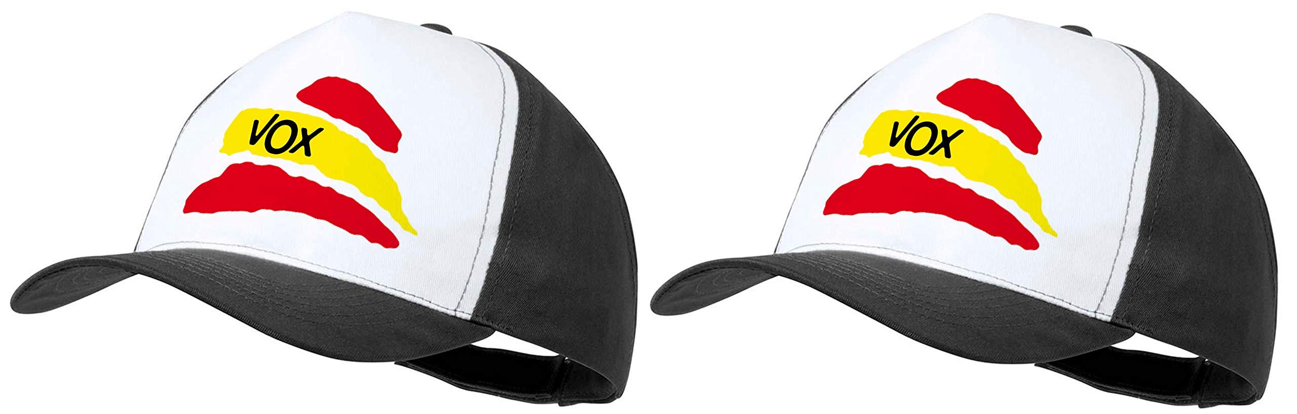 MERCHANDMANIA Pack 2 Gorras Negras Partido VOX Bandera ESPAÑOLA Cap: Amazon.es: Deportes y aire libre