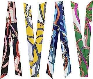 4-Pairs Narrow Handbag Handle Wrap Ribbon Neckerchief Scarf for Women