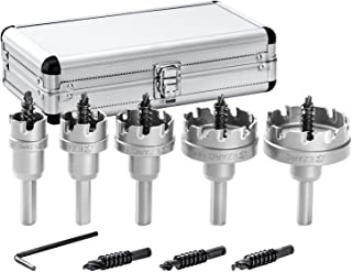 EZARC Carbide Hole Cutter Set 9 Piece for Stainless Steel, Long Life Hole Saw Kit for Hard Metal