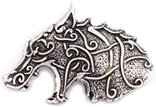 Celtic Wolf Head Viking Brooch Lapel Pin Men Brooch Vintage Brooches for Men Norse Jewelry