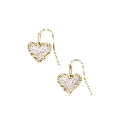 Kendra Scott Ari Heart Drop Earrings (Gold Iridescent Drusy) Earring