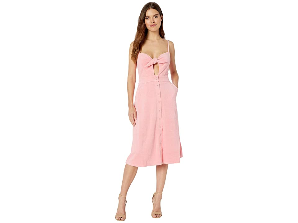 Juicy Couture Microterry Tie Front Maxi Dress (Sorbet Pink) Women