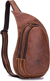 Men's Genuine Leather Sling Bag Vintage Chest Bags Casual Crossbody Satchel Outdoor Travel Shoulder Backpack, Brown