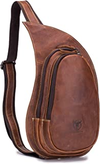 Men's Genuine Leather Sling Bag Vintage Chest Bags Small Casual Crossbody Satchel Outdoor Travel Shoulder Backpack, Brown
