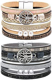 Nanafast Multilayer Leather Cuff Bracelet Tree of Life Pearl Bracelet 2 PCS Magnetic Clasp Boho Wrap Bracelet Gift for Women Girls