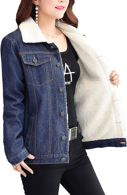 Flygo Women's Casual Lapel Fleece Sherpa Lined Denim Jean Jacket Trucker Coat
