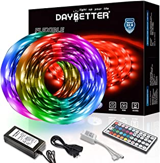 DAYBETTER Led Strip Lights 32.8ft 10m with 44 Keys IR Remote and 12V Power Supply..